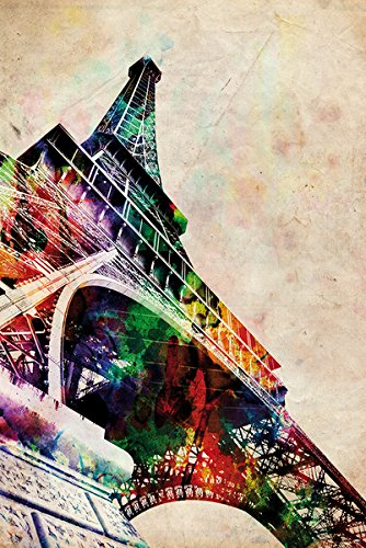 The Eiffel Tower   Paris  France   Pop Art Poster   Print  Watercolor Painting By Michael Tompsett   Size  24  X 36    By Poster Stop Online