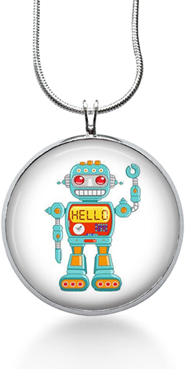 Steampunk geeky Robot,sci Fi Jewelry Robot Necklace