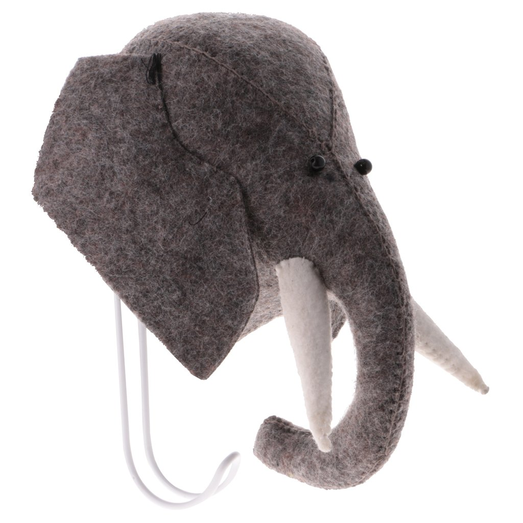 Dovewill Wall Mounted Lovely 3D Felted Wool Elephant Head Animal Figurine Hanger Coat Hook Kids Room Christmas Gift