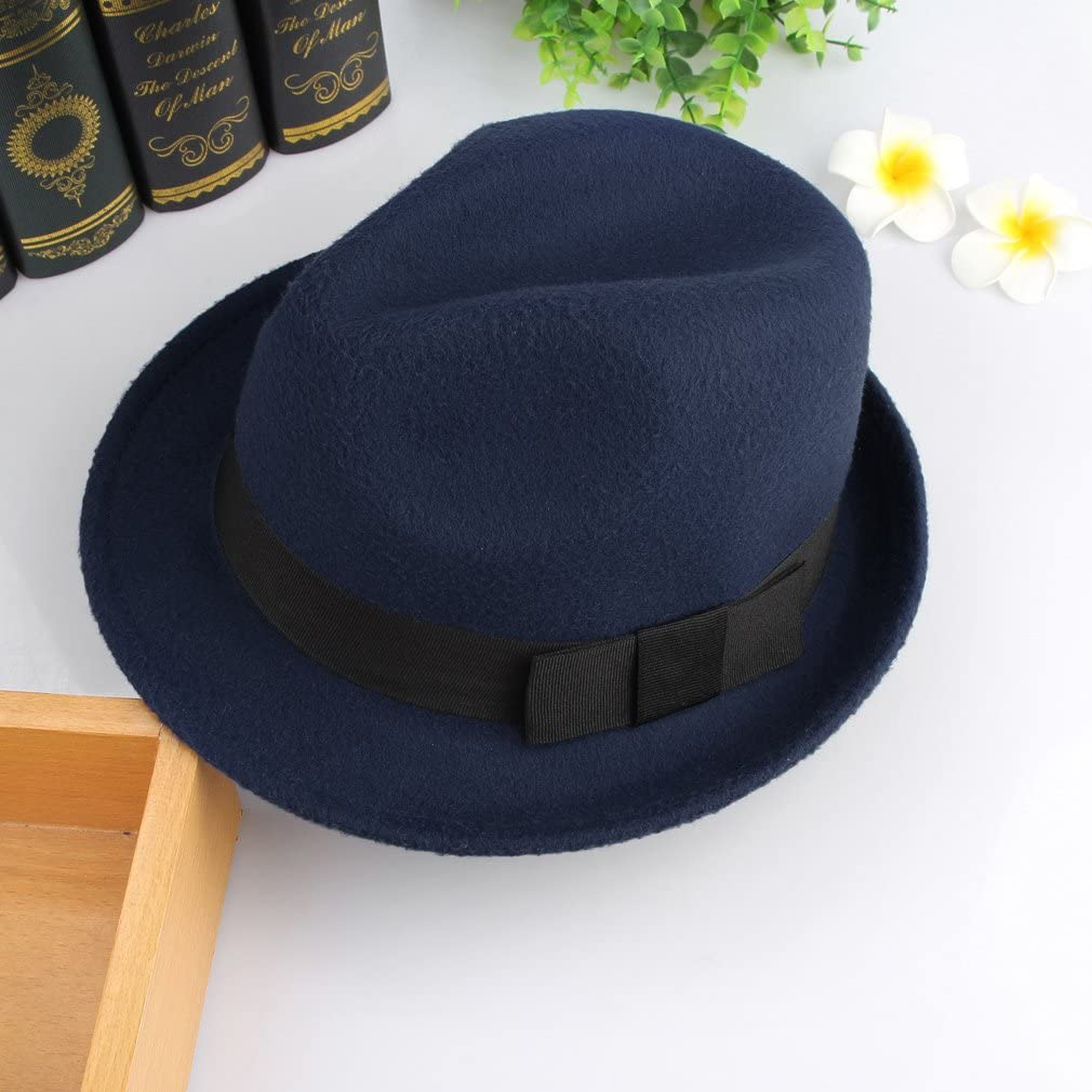 Jelord Mens Warm Wool Blend Dent Trilby Panama Fedora Gangster Hat