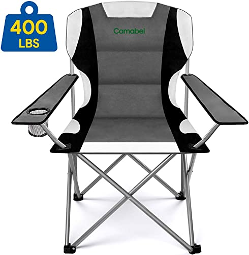 Camabel Folding Camping Chairs 400lbs Capacity Lawn Garden Padded Sports Chair Lightweight Portable Fold up Camp Chairs Bag Chair