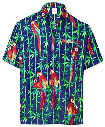 La Leela* Bouton de Perroquet DHomme à Manches Courtes Poche Bleu Chemise Hawaïenne Ble