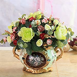 SituMi Artificial Flower The Rose Camellia Home Decorating Small Vase Ted Golden Flower Vases Tables Silk Ornaments, Better Red 112