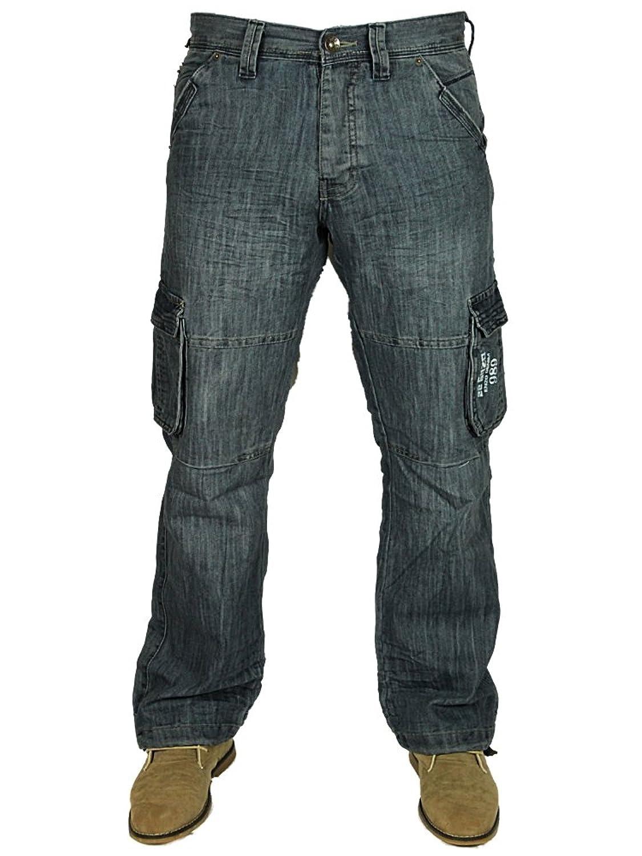 Mens Enzo Jeans Cargo Pants Combat Trousers Stonewash Straight Leg Waist 28-48