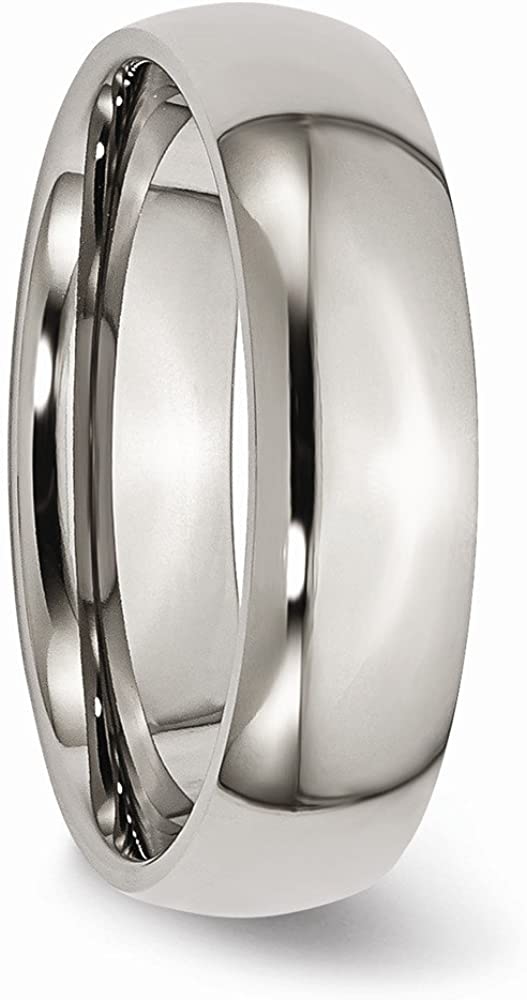 Wedding Bands Classic Bands Domed Bands Titanium 6mm Polished Band Size 8
