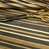 Hard Wearing Designer Vertical Pattern Striped In Soft Velvet Chenille Upholstery Fabric In Beige Colour Sold By The Meter by Yorkshire Fabric Shop