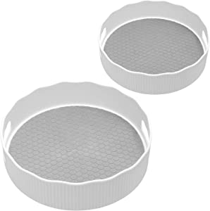 Nxconsu Lazy Susan Turntable Storage Containers Organizer for Kitchen Cabinet Pantry Bedroom Office Bathroom Freezer Cupboard Food Spice Makeup Cosmetic Rotating Storage Bins Non-Slip 2 Sizes Grey