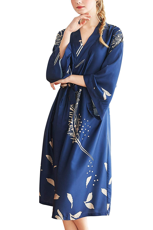 Floral Manches Longues Grand Taille Soyeux Robe Peignoir en Satin de Soie Robe de Nuit de Demoiselle dhonneur Pyjamas YAOMEI Kimono Robe Femmes Longue Chemises de Nuit