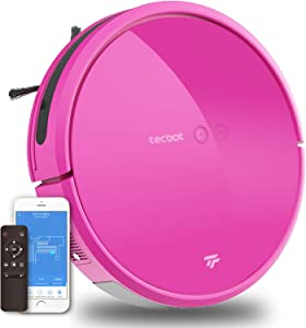 TECBOT Robot Vacuum Cleaner for Pet Hair 1800pa,WiFi APP Control,Smart Navi 3.0,Super Thin,Floor Cleaner,Tangle-Free,Hard Floors Carpet,Super Quiet,Self Charging,Pink