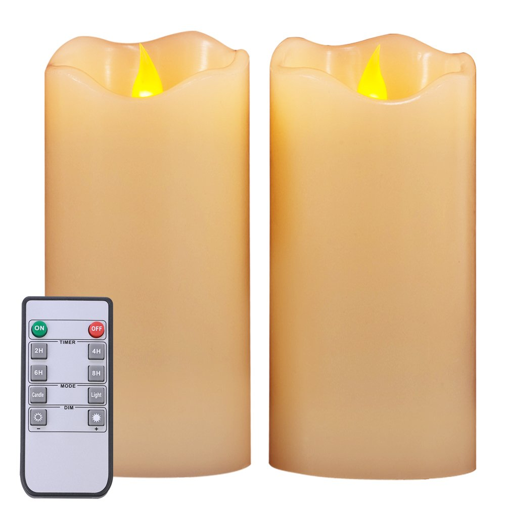 Homemory Real Wax Flameless Candles Set of 2 Amber Yellow Light 7 Inch LED Pillar Candles Battery Operated with Timer and 10-Key Remote Control, Long Battery Life 200+ Hours