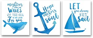 "XUN Watercolor Nautical Inspirational Quote Art Print- Whale Anchor Sailboat Canvas Wall Art-(8""X10""X3 Pieces, Unframed)-Perfect for Bathroom Bedroom Decoration"
