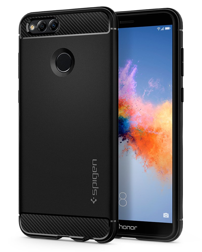 Spigen Rugged Armor Huawei Honor 7X Case/Huawei Mate SE Case with Resilient Shock Absorption and Carbon Fiber Design for Huawei Honor 7X (2017)/Huawei Mate SE (2018) - Black