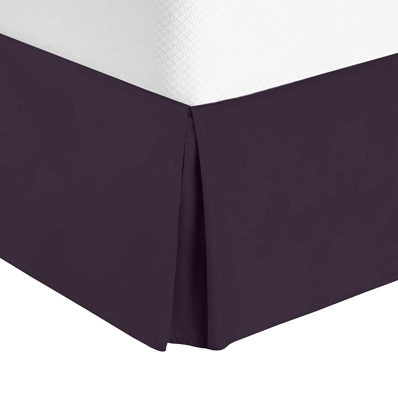 "Nestl Bedding Pleated Bed Skirt - Luxury Microfiber Dust Ruffle - Sleek Modern Bed Skirt - 14"" Tailored Drop, Queen, Eggplant"
