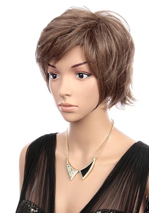 Prettyland Pelucas de pelo corto pelucas de nivel marrón rayado con flecos C1747