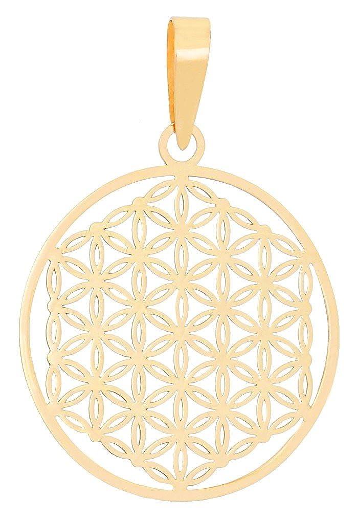 ERCE pendentif fleur de vie, or jaune 585/1000 - 14 carat, longueur 2,8 cm, en écrin cadeau ERCE Unique Jewellery 60 BDL