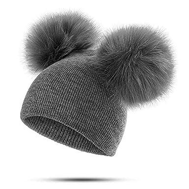 1ed898deb7df Reputedc Chapeau de fausse fourrure tricoté pour femmes, double chapeau de  renard-Noir Gris Vin rouge  Amazon.fr  Vêtements et accessoires