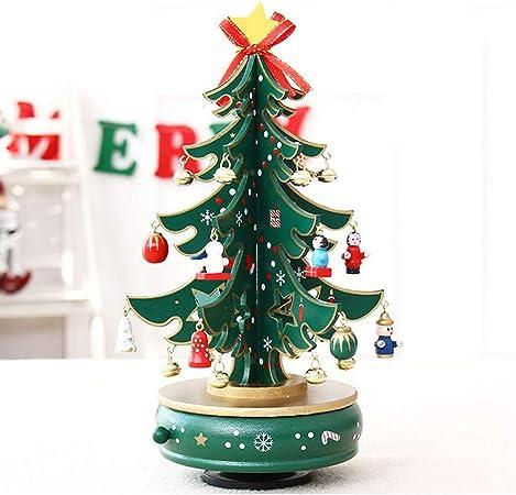 Sobremesa árbol de Navidad for la Caja de música del carrusel, DIY Regalo de Madera de Edad Avanzada (Color : Green, tamaño : 30cm): Amazon.es: Hogar