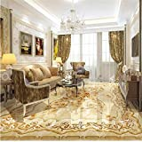 LHDLily 3D Wallpaper Mural Wall Sticker Thickening Pvc Flooring Custom Bathroom Flooring European-Style Luxury Rose Marbles In Flooring For 400cmX300cm