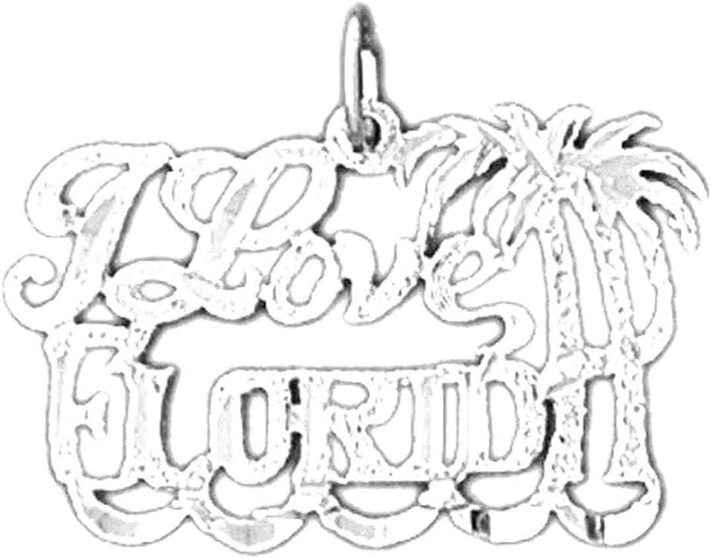Sterling Silver 925 I Love Florida Pendant Jewels Obsession I Love Florida Pendant 18 mm