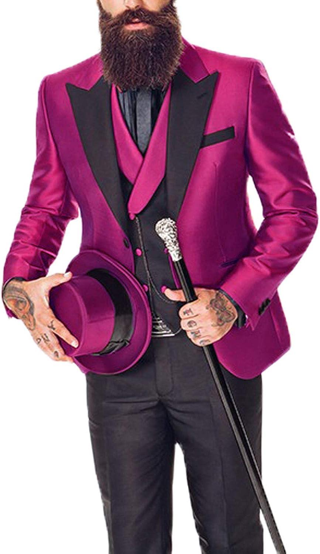DGMJ 3 Piece Suits for Men Slim Fit Tuxedo for Mens Wedding Attire Formal Outfit XZ031