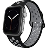 Adepoy Compatible with iWatch Bands 38mm 40mm 42mm 44mm Women Men, Breathable Silicone Replacement Straps for iWatch Series 5, Series 4, Series 3, Series 2, Series 1