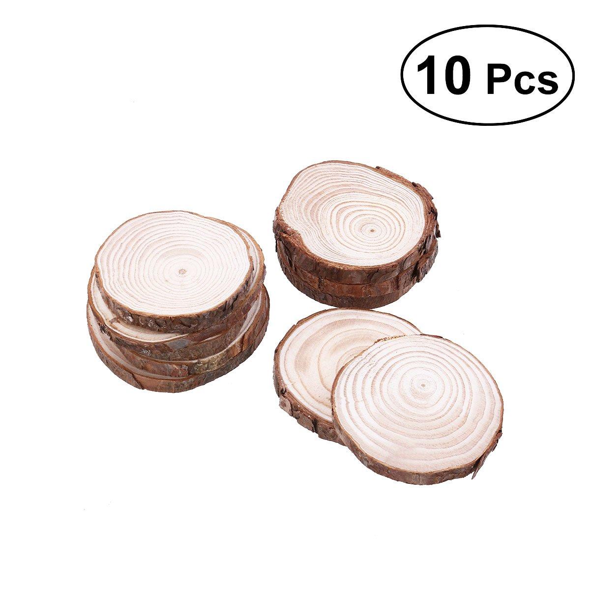 ROSENICE 8-9CM Wood Log 10pcs Slices Discs for DIY Crafts Wedding Centerpieces 4336909798