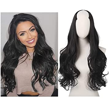 SARLA Half Wig For Black Women Clip in 24 quot  Long Curly Hair U Part  Synthetic da65a260dc
