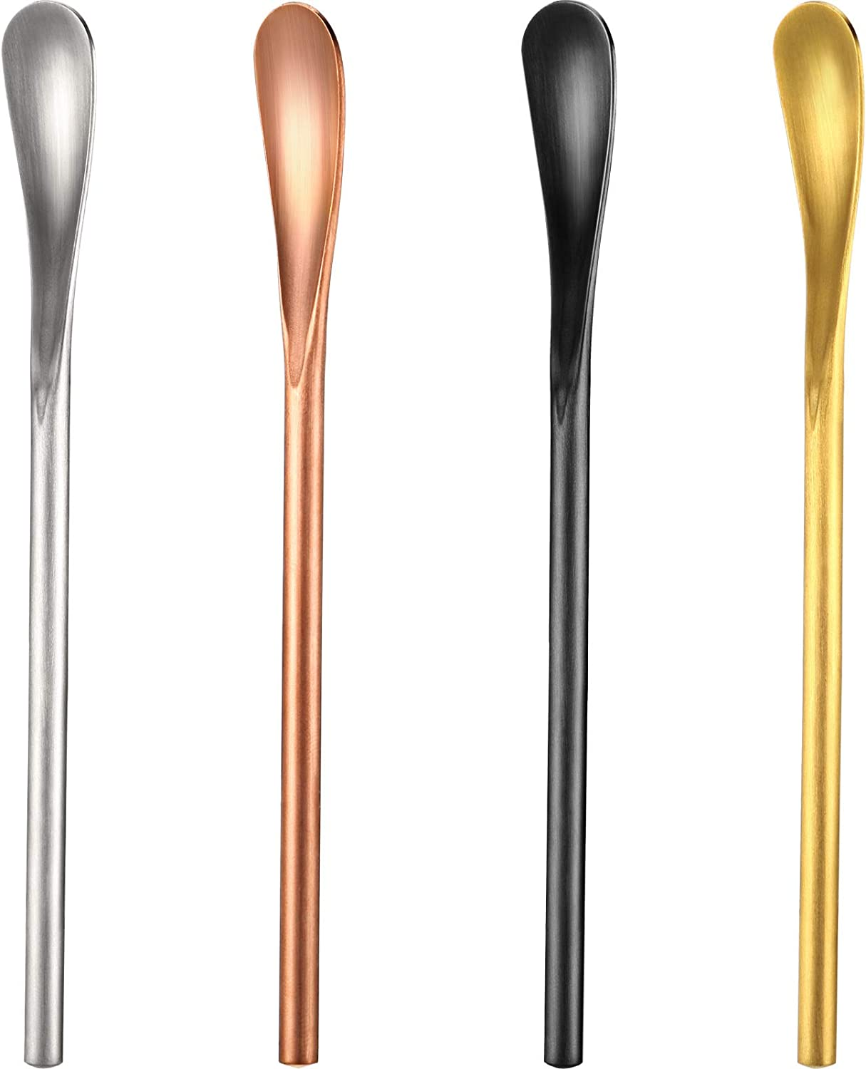 5.12 inch 304 Stainless Steel Coffee Stir Sticks Cocktail Tea Spoons Beverage Stirrer Spoons Drink Stir Spoons with Short Handle for Bar Home Office (4, Silver, Black, Gold, Rose Gold)
