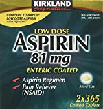 Kirkland Low Dose Aspirin 81mg 365 Enteric Coated Tablets for Pain Reliever. Regular Intake Prevents Heart Attack. (2 Packs - 365 Pills)