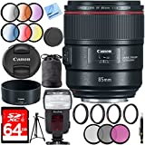 Canon 85mm f/1.4L IS USM Fixed Prime DSLR Camera Lens with 77mm UV, Polarizer, FLD, Close-Up, and Graduated Color Filter Sets Plus 64GB Accessories Bundle