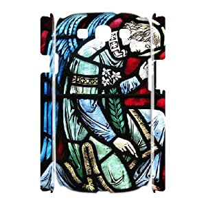3D Pharrel Stained Glass Samsung Galaxy S3 Case Angel Stained Glass Window at St. Vincent Martyr Catholic Church for Girls, Case for Samsung Galaxy S3 Mini I8200, [White]