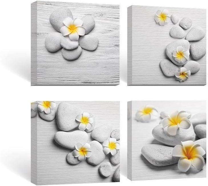 Pinturas para Pared para baño Color Blanco y Amarillo Flores Pledger y Piedras Lienzo Pared Arte 30x30cmx4 Piezas