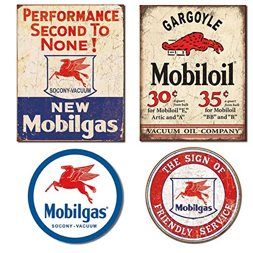 Replica Bundle - Mobilgas Tin Sign For Garage Bundle - Mobilgas Second To None, Mobil Gargoyle, Mobilgas Pegasas and Mobil Friendly Service