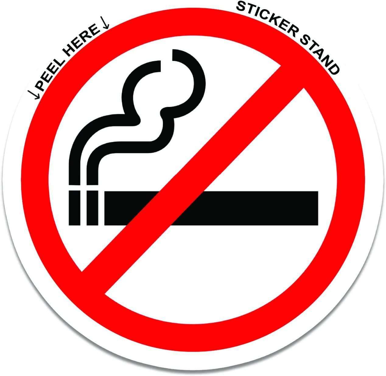 NO SMOKING LOGO ROUND CIRCULAR SELF ADHESIVE STICKERS LABELS SIGNS PACK OF 10