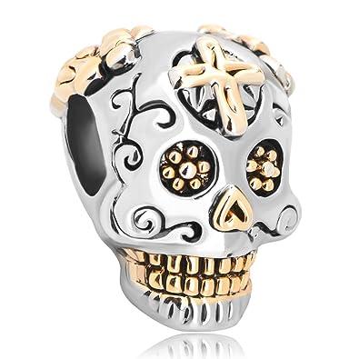 Sug Jasmin Dia De Los Muertos Skull Charm Beads For Bracelet QVob1RM0