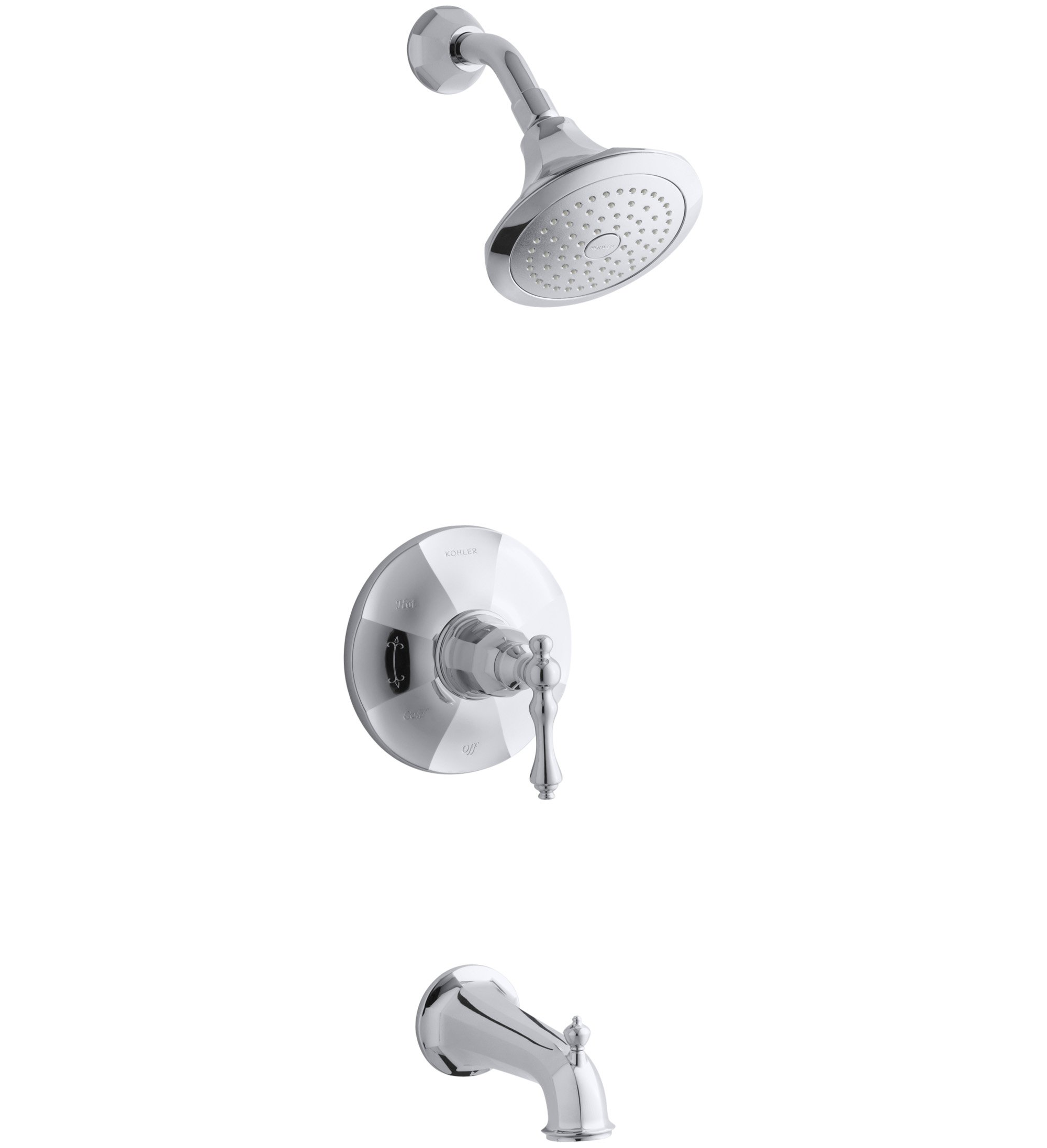 Kohler TS13492-4E-CP Rite-Temp Bath & Shower Valve Trim with Lever Handle, Spout & 2.0 Gpm Showerhead by Kohler