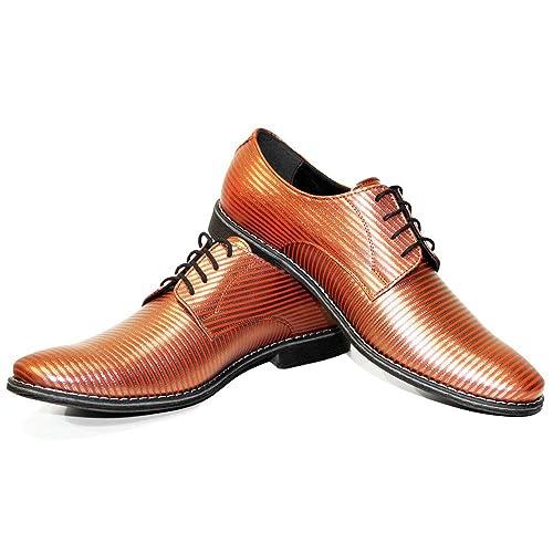 Modello Stripi - 39 - Cuero Italiano Hecho A Mano Hombre Piel Naranja Zapatos Vestir Oxfords