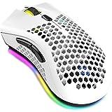 Tomshin Mouse sem fio 2.4G para jogos Mouse recarregável com efeito de luz RGB 3 DPI ajustável oco design de favo de mel bran