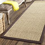Safavieh Natural Fiber Collection NF114K Basketweave Natural and Dark Brown Summer Seagrass Area Rug (2' x 3')