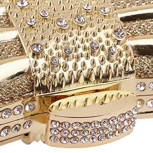 HKDUC Luxuriöse Frauen Clutch Clutch Clutch Taschen Metall Diamanten Kette Schulter Abendtaschen Dame Kleid Hochzeit Abendessen Party Handtaschen B07PB6LM4Y Clutches Einzigartig f0692e