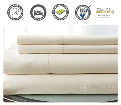 Soft /& Silky Sateen Weave 4 Pieces Sheet Set 500 Thread Count 100/% Cotton Sheet Set White, King Long Staple Combed Pure Natural Cotton Bedsheet