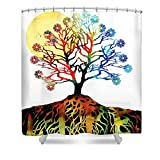 Pixels Shower Curtain (74'' x 71'') ''Spiritual Art - Tree Of Life''