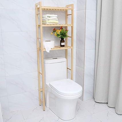 GOTOTOP Etagère au-Dessus des Toilettes WC Etagère Salle de Bain Bois, 3  Tablettes