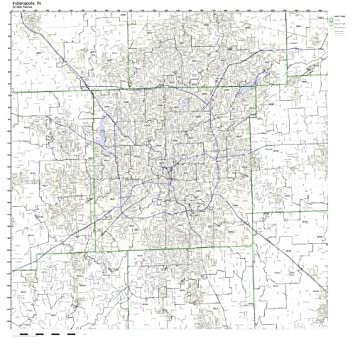 Amazoncom Indianapolis IN ZIP Code Map Laminated Home  Kitchen