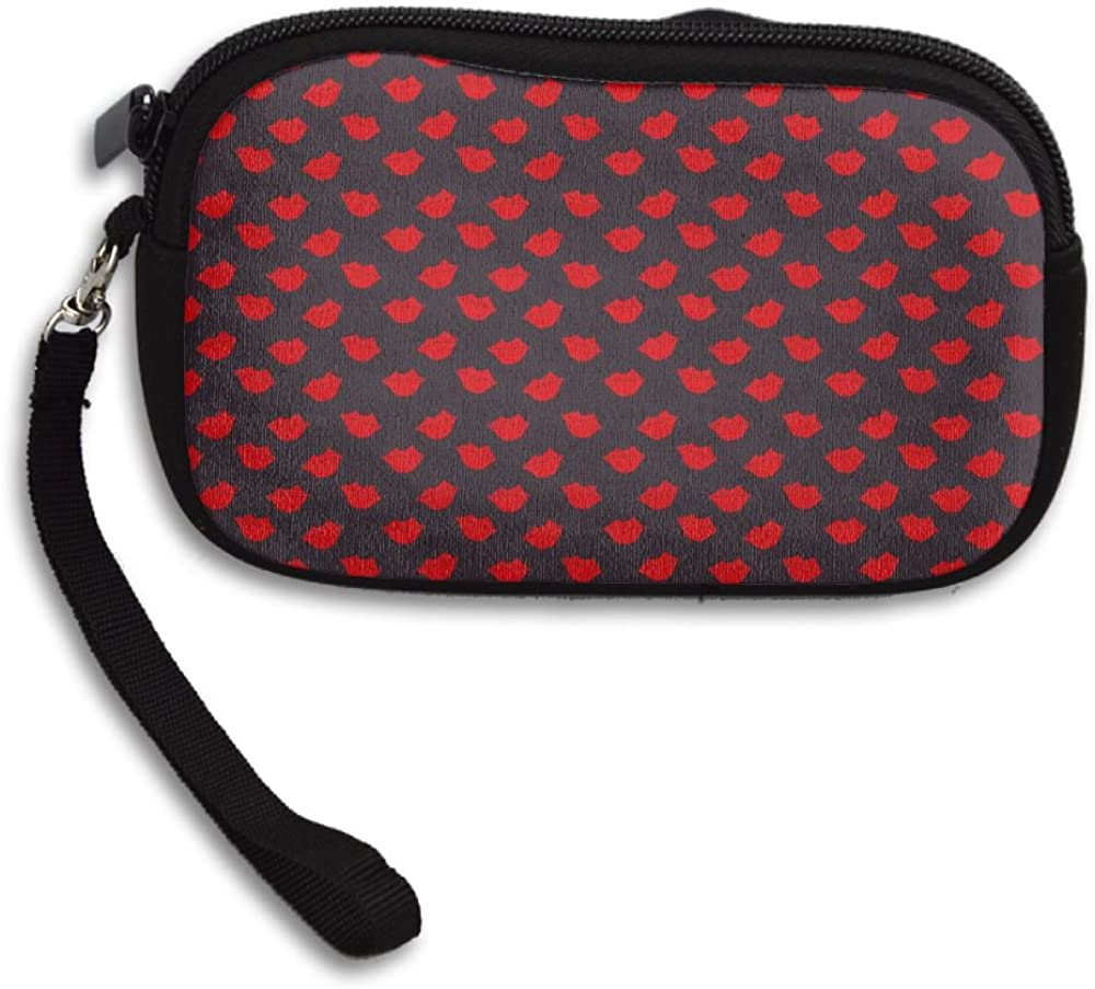 Kisses Red Lips Pattern Deluxe Printing Small Purse Portable Receiving Bag