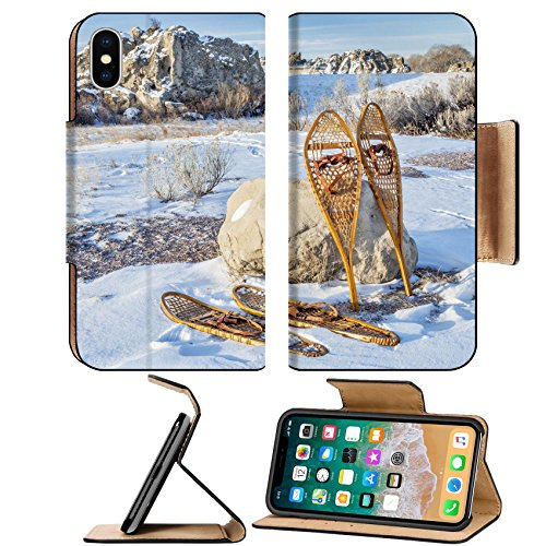 Liili Premium Apple Iphone X Flip Pu Leather Wallet Case Image Id 32547474 Vintage Huron And Bear Paw Snowshoes In Winter Scenery On A Parking Lot Or Trailhead