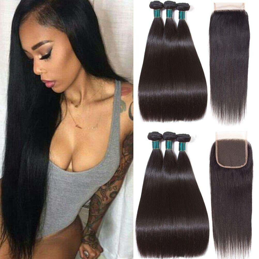 Brazilian Straight Hair Bundles with Closure (18 20 22+16 closure) 3 bundles 8A Brazilian Human Hair Extensions Virgin Hair with Closure Straight Human Hair Bundles with Closure Natural Black Color by Miss Flower