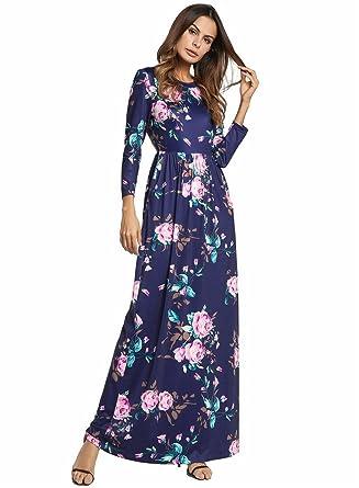MXNET Vestido de playa de verano, vestido de estampado floral Maxi de color blanco azul