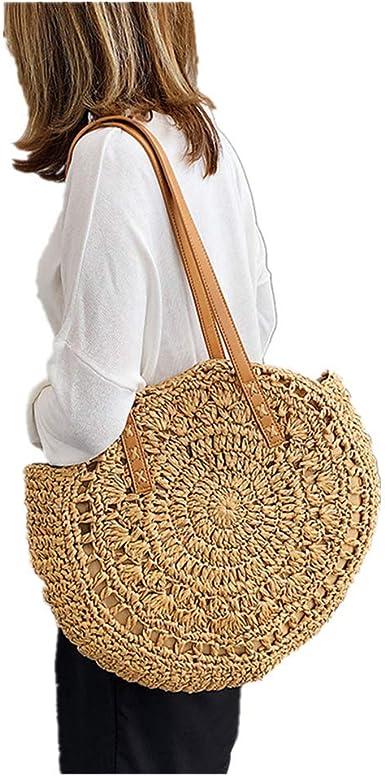 Woman Hobos Shoulder Bag Handmade Straw Bag with Tassel Rattan Woven Vintage Rope Knitted Messenger Bag