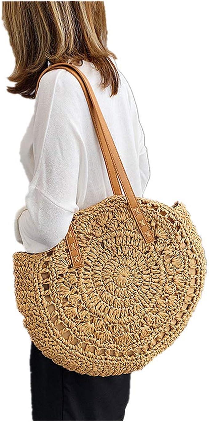 new Women Straw Woven Handbag Shoulder Wrist Bags Soft Flower Beach Bag Tote Bag